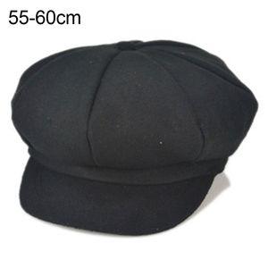 Mode Adult Uni Solid Color achteckige Schirmmütze Beret Hat, Farbe / Größe: Black Adult
