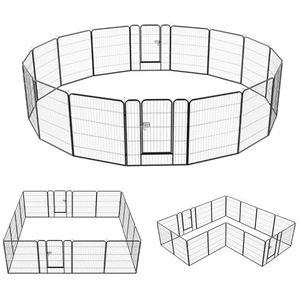 Yaheetech Welpenauslauf Metall Laufstall Zaun Gitter Welpen Hasen Kaninchen Freigehege 16 eckig mit 2 Tür 80 cm Hoch