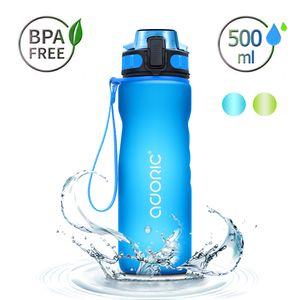 ADORIC Sport Trinkflasche, [BPA Frei Tritan] 500ml Auslaufsicher Kunststoff Wasserflasche Sport, Sportflasche Fahrrad für Camping Freien, Outdoor, Yoga, Gym (Blau)