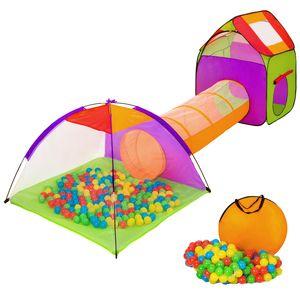 tectake Spielzelt mit Tunnel, 200 Bällen und Tasche - bunt