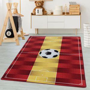 Kinderteppich, Kettelteppich Digital Druck, Fussball Spanien, Waschbar GELB, Maße:120 cm x 170 cm