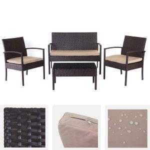 Poly-Rattan Garnitur HWC-D98, Garten-/Lounge-Set Sitzgruppe  braun, Kissen beige