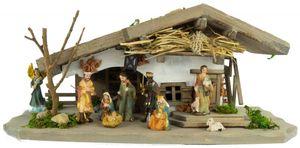 Stimmungsvolle Weihnachtskrippe Rütli inkl. 11-tlg. Figurensatz K 110