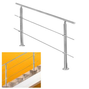 EINFEBEN Edelstahl Handlauf Gel?nder fš¹r Balkon Brš¹stung Treppen mit/ohne Querstreben (80cm, 2 Querstreben)
