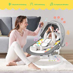 GOPLUS Babywippe mit Schaukel-Funktion, Babyschaukel mit 5 Schaukelintensitäten, Bluetooth-Funktion & USB-Schnittstelle, 10 Eingebaute Lieder, Fernbedienung, Abnehmbares Verdeck & Moskitonetz