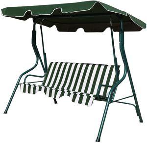 GOPLUS Hollywoodschaukel mit Sonnendach, Gartenschaukel, Schaukel, Schaukelbank 3-Sitzer,Gruen