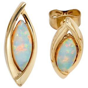 Opal Ohrstecker 375 Gold Gelbgold 2 Opale Ohrringe gold Edelsteinohrringe