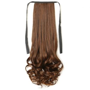 Ponytail Clip in Pferdeschwanz Extension Haarteil Haarverlängerung Zopf Hair Piece gewellt Wavy wie Echthaar Hellbraun 48 cm