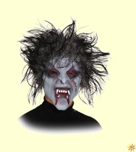 Halloween Gummimaske mit Haar Zombie