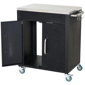 HOMCOM Küchenwagen mit Rollen, Servierwagen, Küchenhilfe, Edelstahl, Schwarz, 86 x 50 x 84,5 cm
