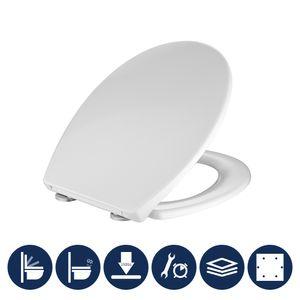 Toilettendeckel antibakteriell oval weiß Klodeckel mit Quick-Release-Funktion und Softclose Absenkautomatik WC Sitz aus Duroplast