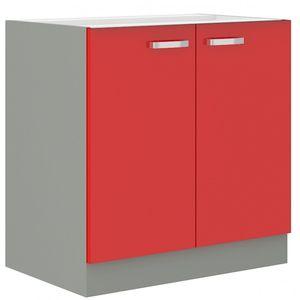 Küchen Unterschrank 80 Glanz Rot Grau Küchenzeile Küchenblock Küche Rose Bianca