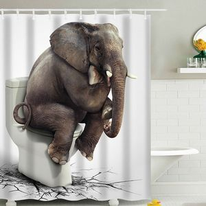 Duschvorhang 180x180cm Polyester Badewannenvorhang Wannenvorhang Bad Dusche Vorhang, Motiv:Elefant