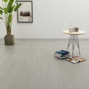 PVC Modern PVC-Bodenbelag Nachbildung,Laminat Bodenmatte Wohnzimmer CV-Boden rutschhemmend Dielen Selbstklebend 4,46 m² 3 mm Hellgrau🌹3185