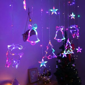 LED Lichterkette Sterne Lichtervorhang Sternenvorhang Garten Weihnachtsdeko, 3,5M, bunt, Batterie nicht enthalten