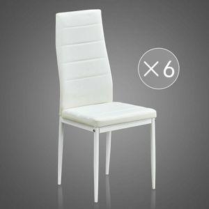 Mondeer 6er-set Esszimmerstühle, Esstischgruppe, Sitzgruppe aus Kunstleder, Weiß