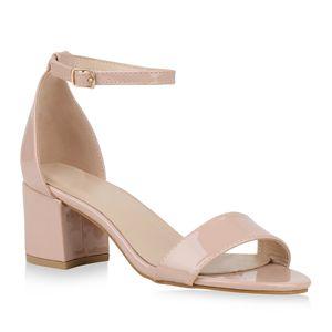 Mytrendshoe Klassische Damen Sandaletten Mid Heel Blockabsatz Schuhe 826401, Farbe: Creme, Größe: 39
