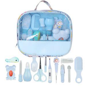 Baby Pflegeset | 13-teiliges Baby Pflege Produkte | Baby Pflegeset Erstausstattung | Nagel und Nasen Pflege mit Tasche mit Handtasche (Blau)