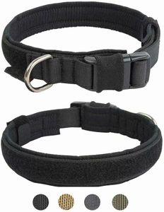 Breite Hundehalsband Military Training Nylon Verstellbares Hundehalsband für Große Mittelgroß Kleine Hunde,L, Schwarz