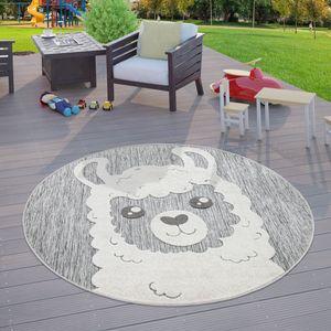 Kinderzimmer Outdoor Teppich Kinder Rund Spielteppich 3D Optik Lama Grau, Größe:Ø 160 cm Rund