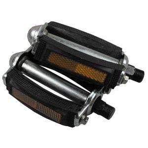 Fahrrad Pedalen Universal mit Reflektoren robust Schwarz Silber Fahrradpedalen 1 Paar