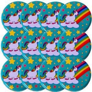 12 Stück TE-Trend Yoyo Jojo Set Motiv Regenbogen Einhorn Metall 60mm Mädchen Kinder Spielzeug Mitbringsel Mitgebsel Kindergeburtstag