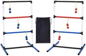 GOPLUS 2er Leitergolf Wurfspiel Set, Spin Ladder aus PVC, Ladder Golf mit Tragetasche, Score-Tracker-Klemme, mit 6 Doppelkugeln, Geschicklichkeitsspiel für alle Altersgruppe