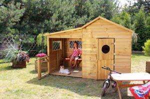 Kinderspielhaus Spielhaus Holz Gartenhaus Spielhütte aus Holz für Kinder - (3990)