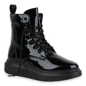 Mytrendshoe Damen Stiefeletten Keilabsatz Schnürstiefeletten Schnürer Schuhe 835556, Farbe: Schwarz, Größe: 36