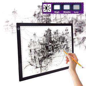 LED Licht Pad A3 Leuchttisch Leuchtplatte Tragbare Light Pad mit USB Kabel und Skala für Designen Zeichnen Animation Malen Skizzierung