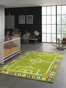 Kinderteppich Teppich Fußball in Grün Größe - 80x150 cm