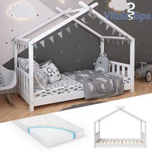 VITALISPA Kinderbett Hausbett DESIGN 80x160 Weiß Zaun Kinder Holz Haus Hausbett inklusive Matratze