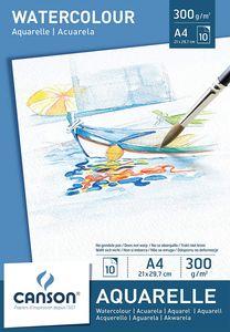CANSON Aquarellpapier Block DIN A4 300 g/qm weiß 10 Blatt