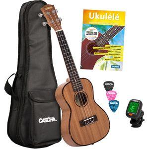 Cascha HH 2036 FR Premium Mahogany concert ukulele set (French)