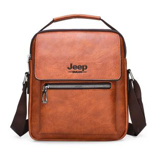 JEEP BULUO Big Size Umhängetasche Herrenhandtaschen Berühmte Marke Mann Leder Crossbody Umhängetasche für 9,7 Zoll iPad Casual Business