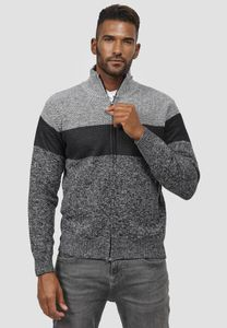 Herren Rundhals Strick Strickjacke | Gefüttertes Zip Sweatshirt | Farbblock Longsleeve Pullover, Farben:Hellgrau, Größe Pullover:3XL