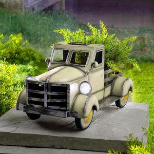 Retro-Stil Solar Pickup Truck Garten Dekoration Truck Blumentopf mit Auto Licht