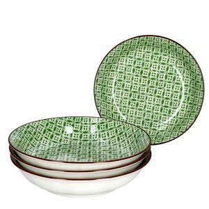 Lime Sao 4-tlg. Suppenteller Set Ø 20 cm Grünes Nachbildung Soup Porzellan Ritzenhoff