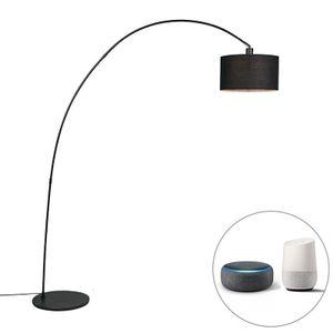 QAZQA - Modern Intelligente moderne Bogenlampe schwarz inkl. A60 Wifi - Vinossa Dimmer   Dimmbar   Wohnzimmer - Stahl Länglich - LED geeignet E27