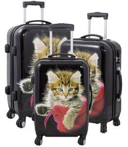 Monopol Kofferset Katze 3-teilig bunt 36908 Koffer mit 4 Rollen