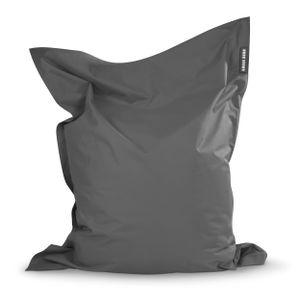 Green Bean © SQUARE XXL Riesensitzsack 140x180 cm - Indoor & Outdoor Sitzsack - Bean Bag Chair für Kinder & Erwachsene - Grau