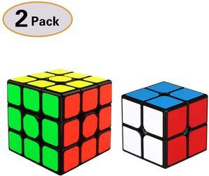 Zauberwürfel Set,2x2 + 3x3, 2 in Paket(Schwarz)