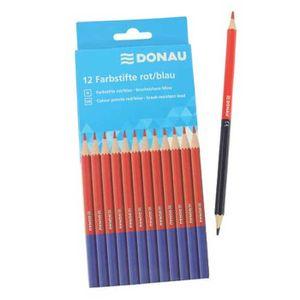 Farbstifte Silbenstifte DONAU, - rot/blau, Dünnkern Mine, 12 Stück