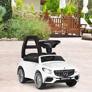 COSTWAY 2 in 1 Kinderauto und Schiebeauto mit LED Scheinwerfer, Hupe und Musik, Rutschauto mit Aufbewahrungsfach unter dem Sitz, Kinderrutscher, Spielzeugauto für Kinder Weiß