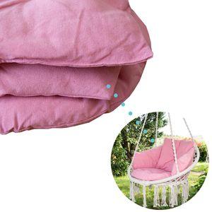 SVITA Hängesessel Carrie XXL Hängekorb Kissen-Set Schaukel Fransen Indoor Outdoor Rosa / Pink Polsterung