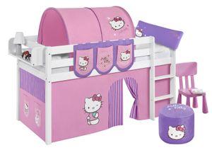 Lilokids Spielbett JELLE Hello Kitty Lila - weiß - mit Vorhang und Lattenrost, Maße: 208 cm x 113 cm x 98 cm; T-JELLE2054KW-HELLOKITTY-L