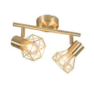 QAZQA - Modern Art Deco Spot | Spotlight | Deckenspot | Deckenstrahler | Strahler | Lampe | Leuchte Messing dreh- und neigbar - Mosh 2-flammig | Wohnzimmer | Schlafzimmer | Küche - Stahl Länglich - LED geeignet E14