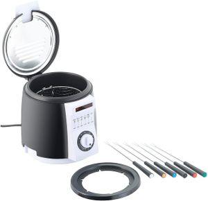 Mini Fritteuse,Kompaktfriteusen Tisch-Fritteuse mit Fondue-Set, 0,9 Liter, 840 Watt (Mini Friteusen)