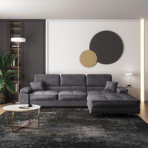 Selsey Eckbettsofa GANTA - Sofa mit Samtbezug in Grau, wasserabweisend, Recamiere  rechts, 280 cm breit