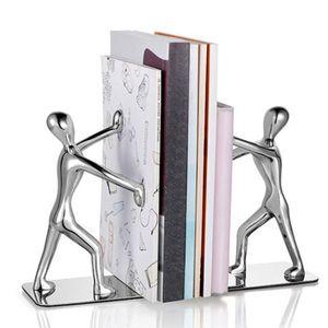 Buchstützen 2er Set Gusseisen Bücherstützen, Metall Kungfu Mann Buchstützen Buchständer Organizer für Bücher Karten